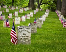 Flags are placed on the graves each year by the Boy Scouts.