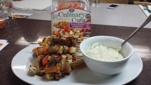 "I was on the ""Chicken Skewer with Sweet Potato Ribbons and Spicy Mustard Dipping Sauce"" team.  YUM!"