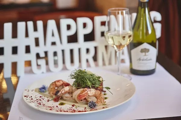 2019 Happening Gourmand - Brasserie 701 - Lentil cassoulet with garlic and parsley pan seared Mediterranean shrimps, Brussels sprouts and carrots cassoulet, chives