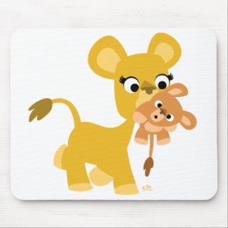 Cartoon Mother Lion and Cub mousepad mousepad