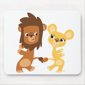 Cartoon Lion and Lioness  dancing mousepad mousepad