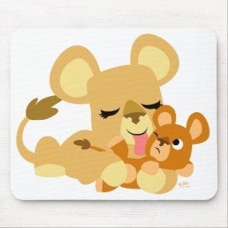 Baby Lion's Bath mousepad mousepad