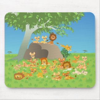 Cartoon Lion Family mousepad mousepad