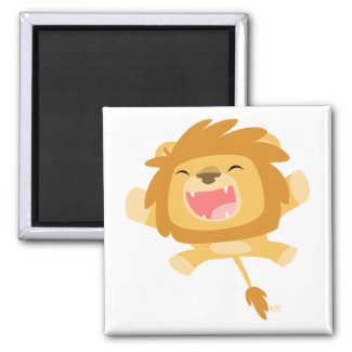 Cartoon Pouncing Lion magnet magnet