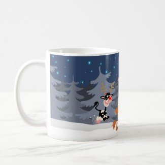 Reindeer in the snow mug mug