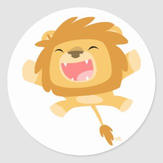 Cartoon Pouncing Lion round sticker sticker