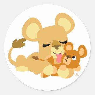 Baby Lion's Bath round sticker sticker