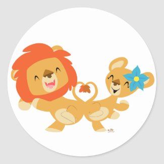 Valentine dancing lion couple sticker sticker