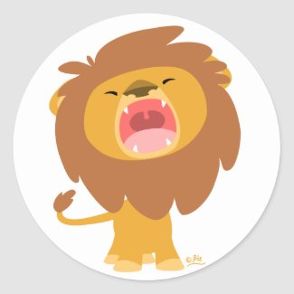 Cute Mighty Roaring Lion Cartoon round sticker sticker