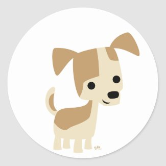 Inquisitive little dog cartoon sticker sticker