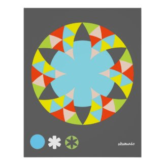 Circle Pepper Flower Star print