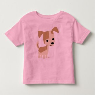 Inquisitive little dog cartoon toddler T-shirt shirt