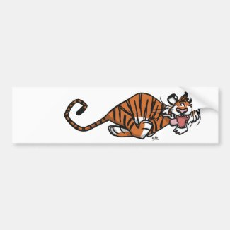 Cartoon Running Tiger bumper sticker bumpersticker