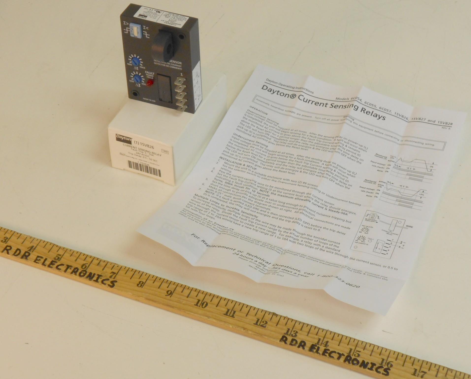 Grainger Dayton 15V826 AC Current Sensing Relay 5-50A 24V