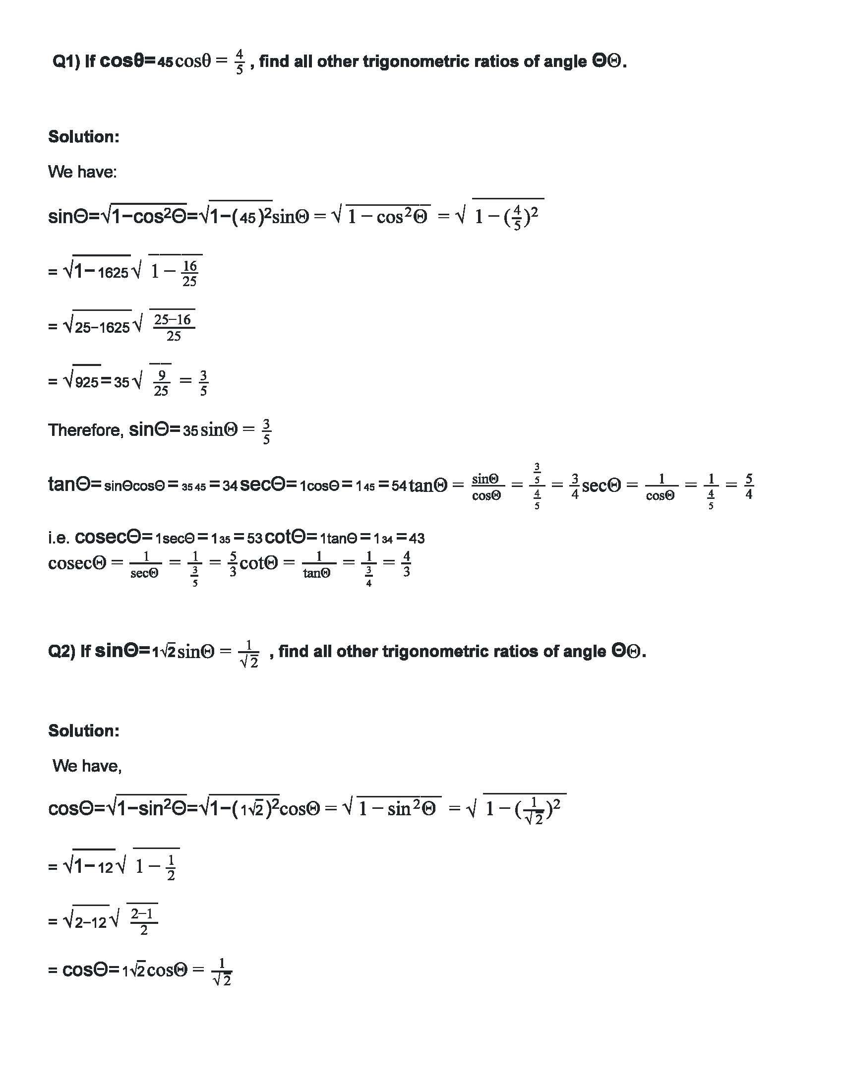 RD Sharma Class 10 Solutions Chapter 6 Trigonometric