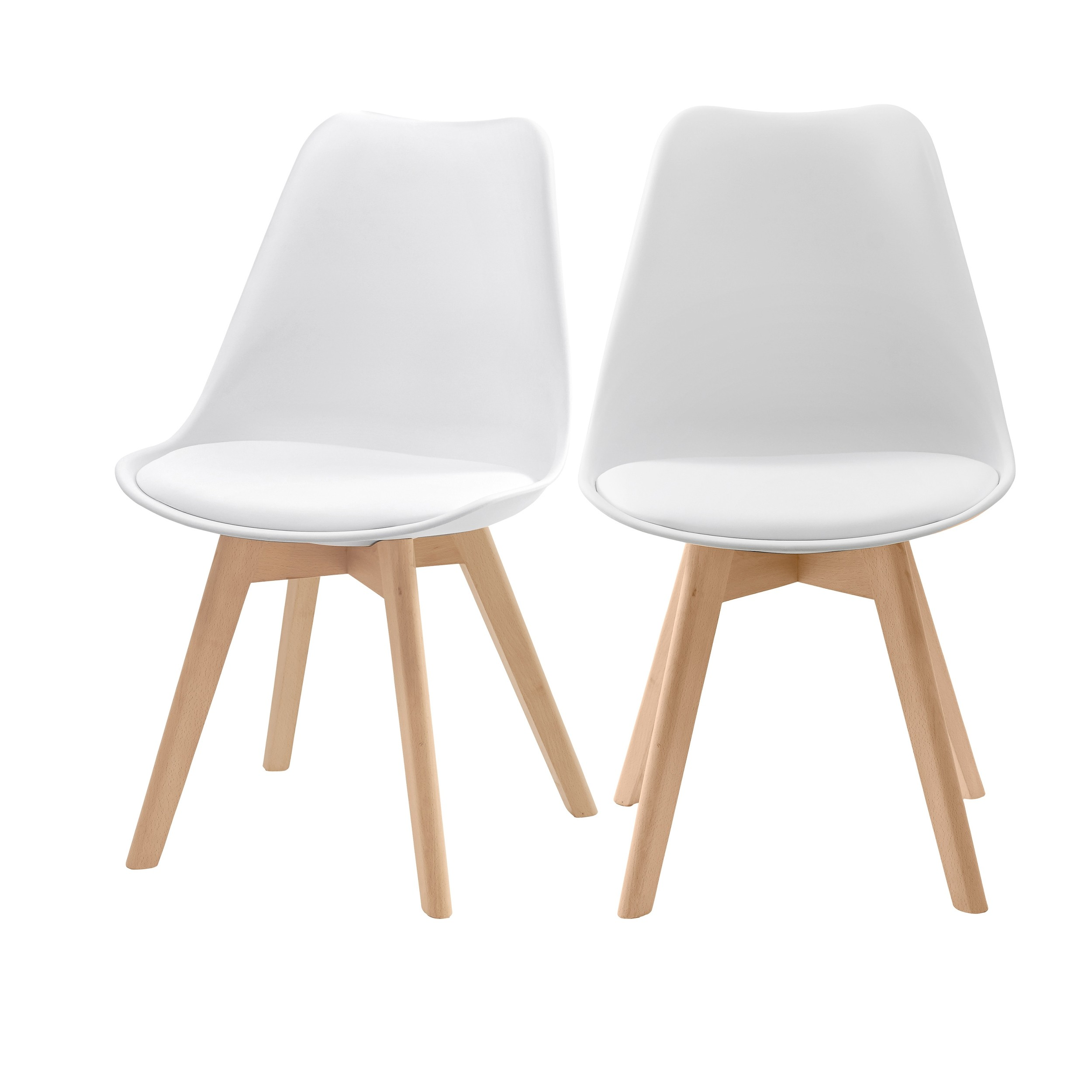 chaise skandi blanche lot de 2