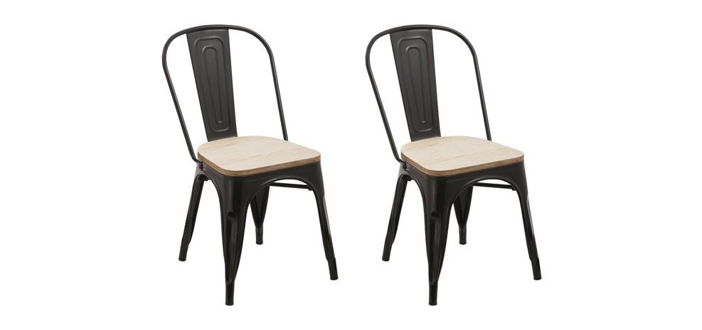 chaise kisa noire lot de 2