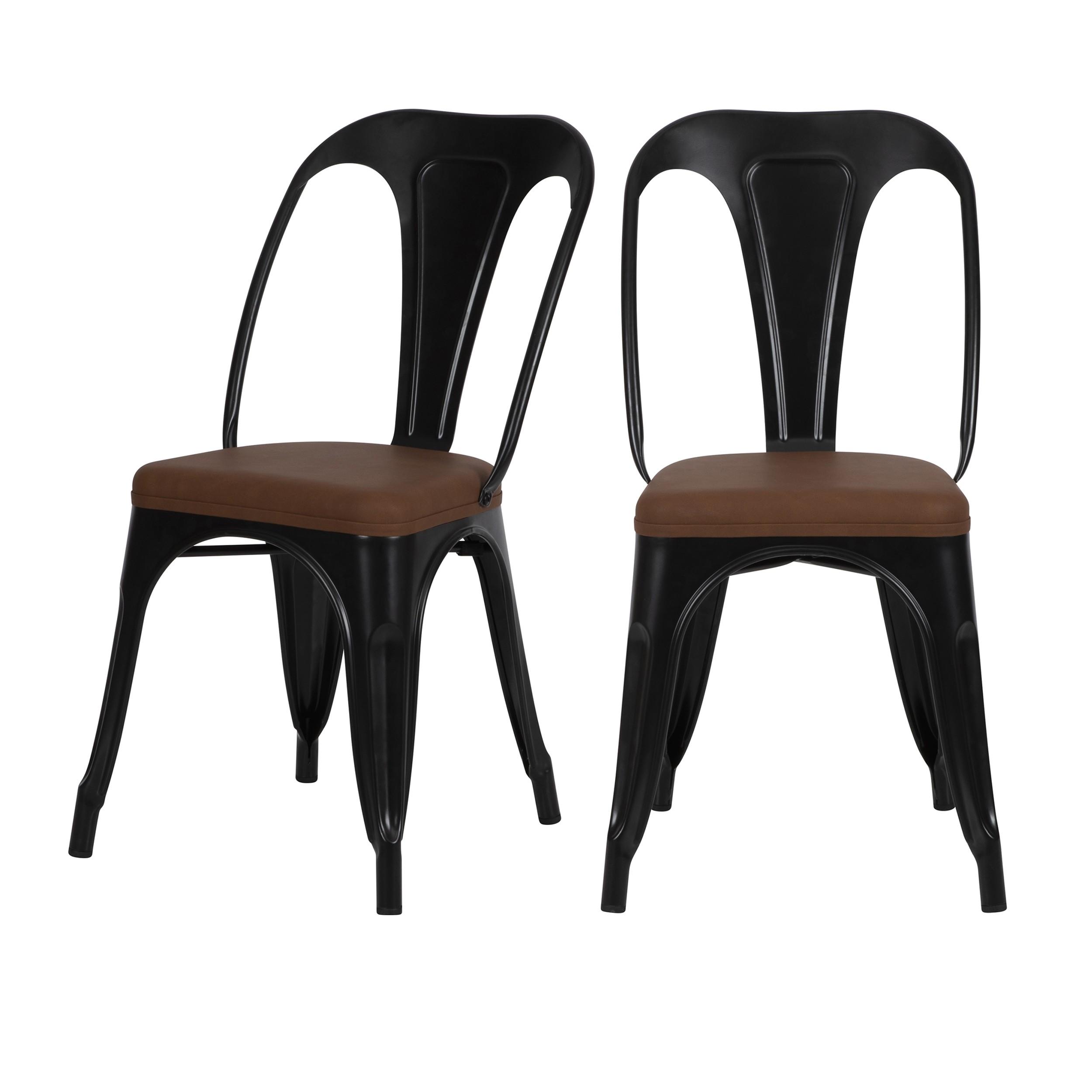 chaise indus charly noire lot de 2