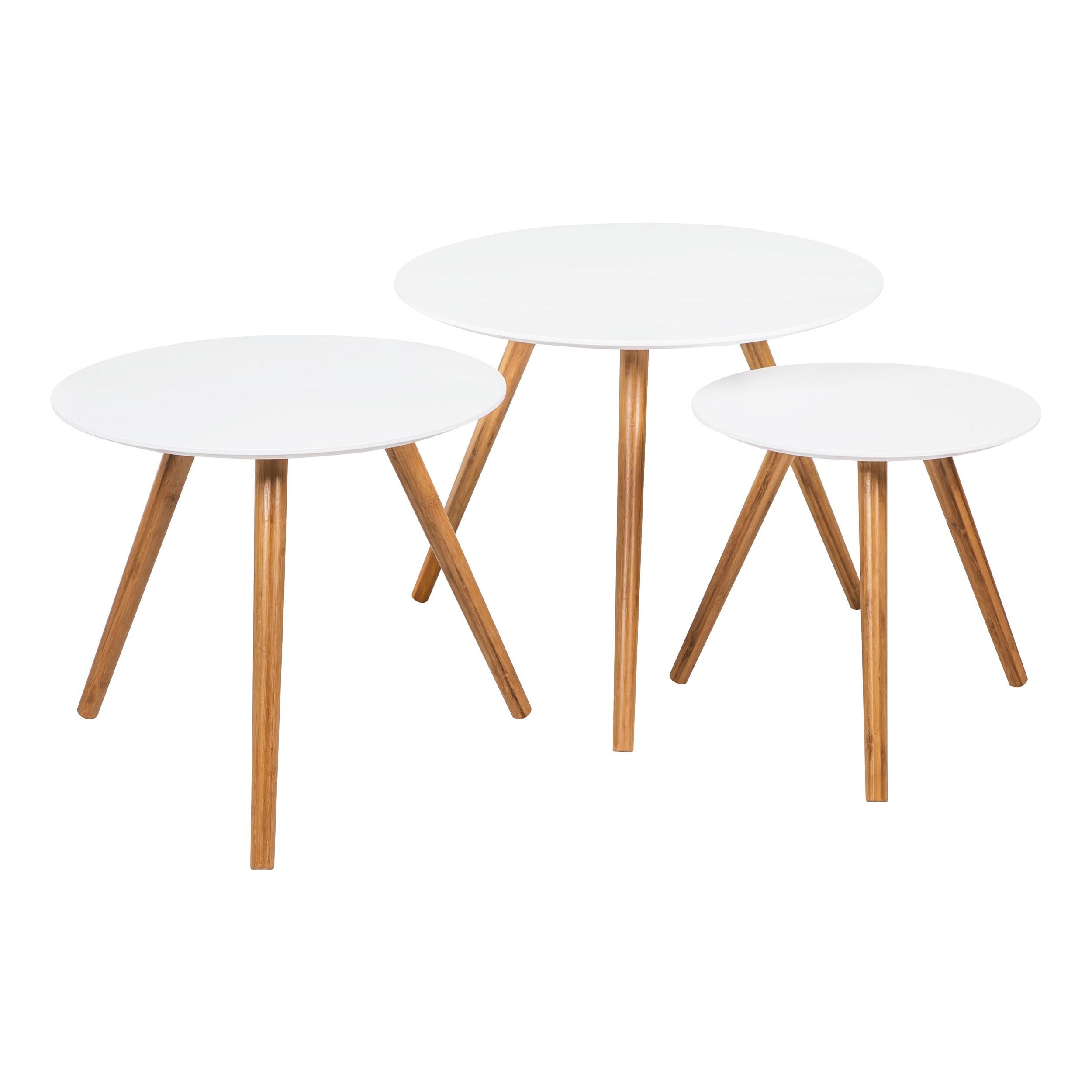 table basse ronde liv blanche lot de 3