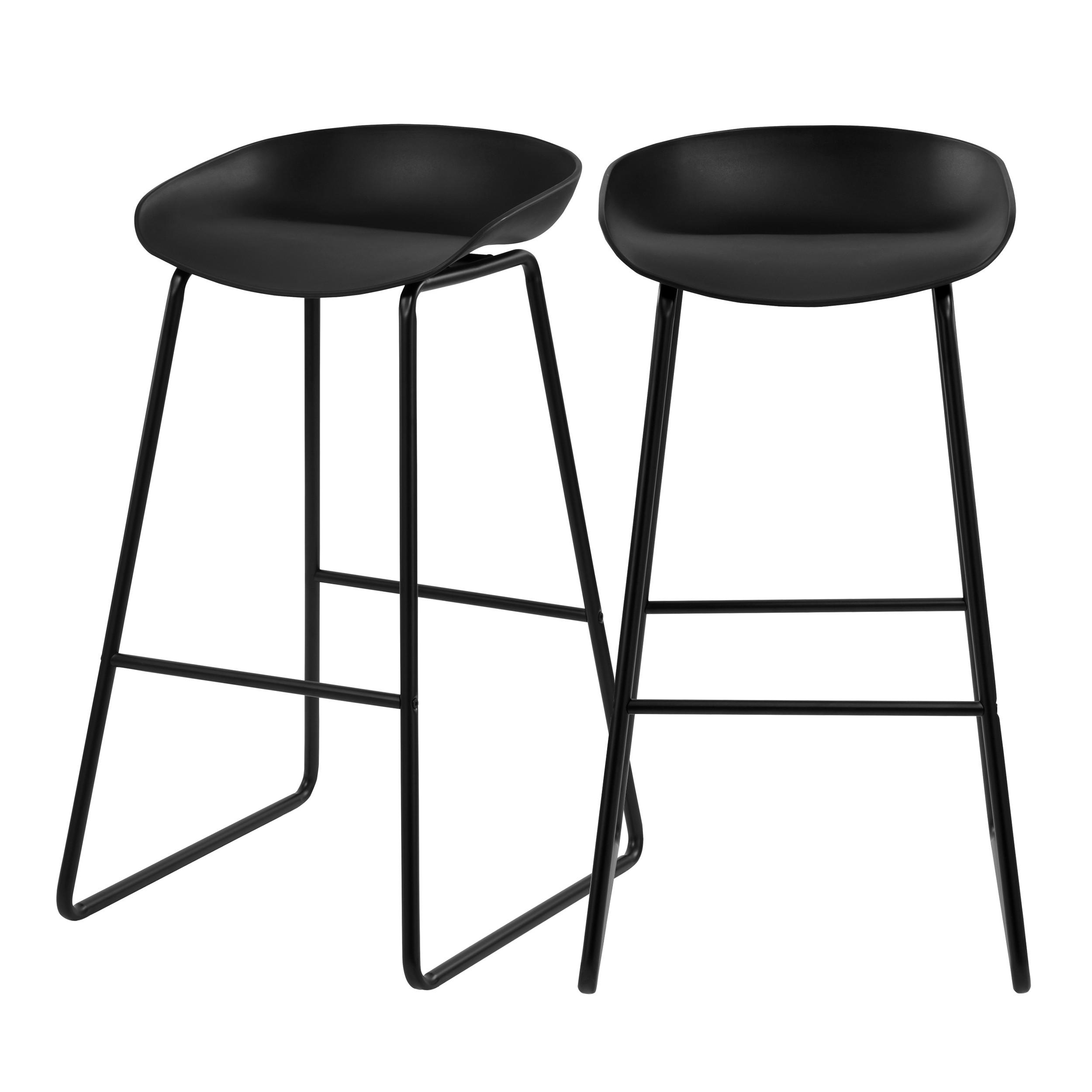 chaise de bar yoshi noire 76 cm lot de 2