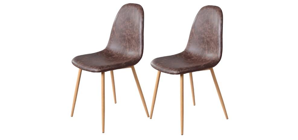 chaise rodrik chocolat lot de 2
