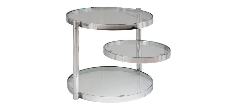 table basse chromee avec plateau pivotant