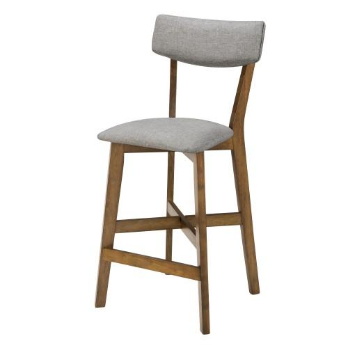 chaise de bar mi hauteur elmer grise en bois fonce 68 cm lot de 2