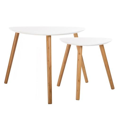 table basse scandinave blanche lot de 2
