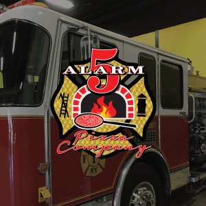 5 Alarm Pizza Company logo with fire truck in the background
