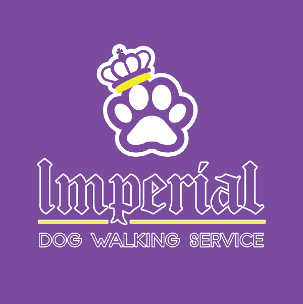 Imperial Dog Walking Service logo on purple background