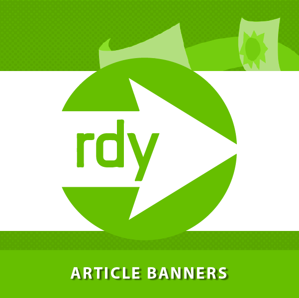RdyToGo logo with caption reading Article Banners