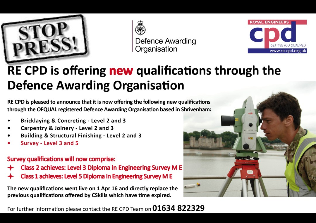 RE CPD is offering NEW qualifications through the Defence Awarding Organisation