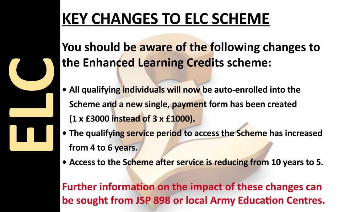 Key Changes to ELC Scheme