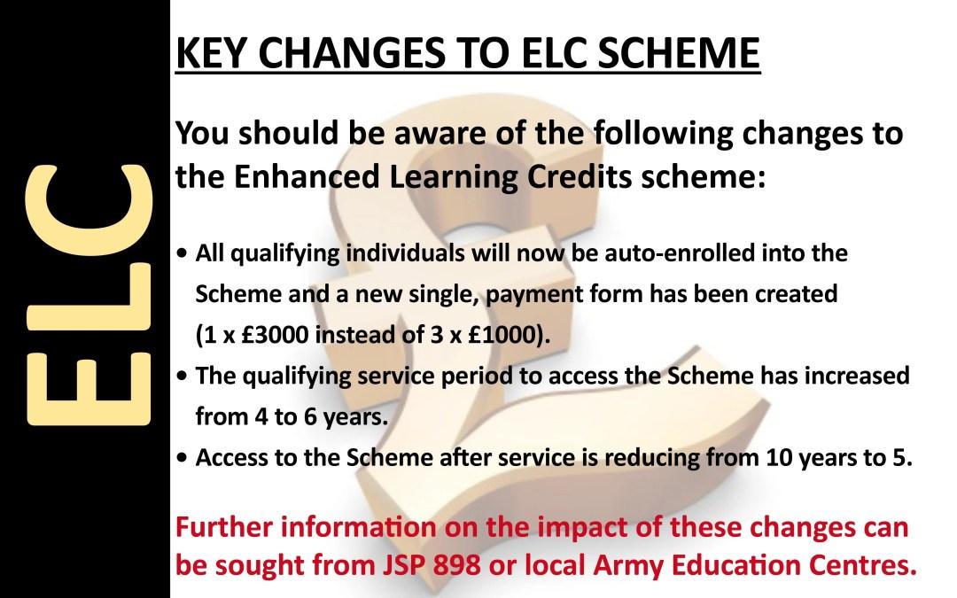 Key Changes to ELC Scheme