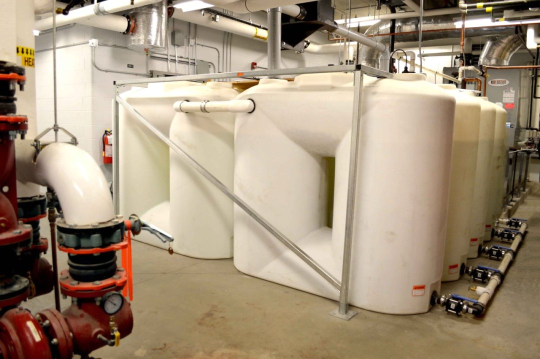 Abbotsford Arena's mechanical room - harvesting rainwater