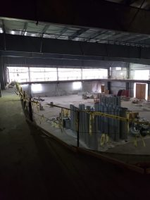 The indoor turf and track under construction at Wellesley Sports Center