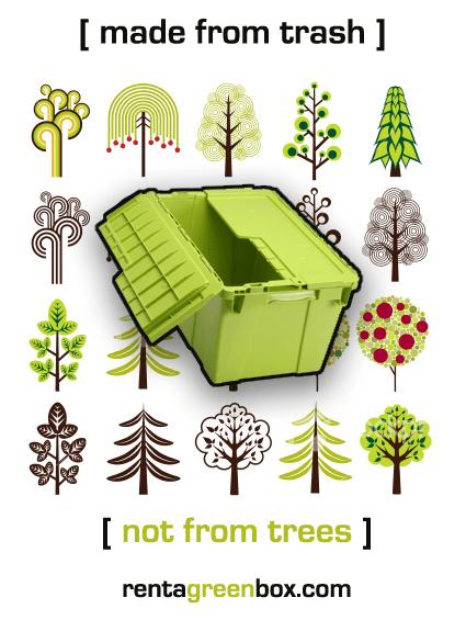 rent a green box, made from trash not trees