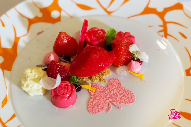 Strawberry mouse with merengue, rose, crumble & vanilla milk shake