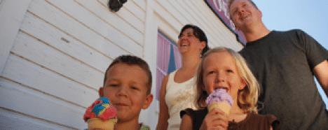 family, kids, ice cream, happy