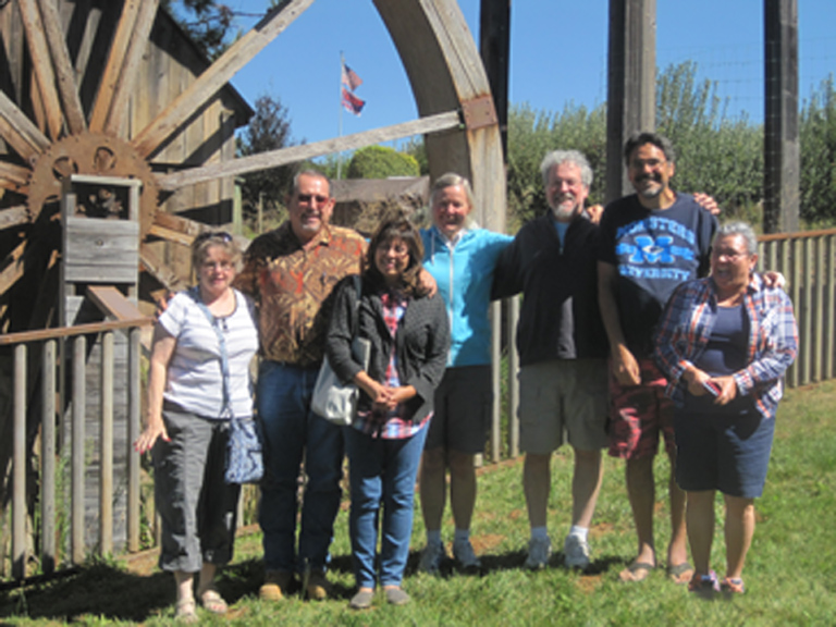 The gang in front of the water wheel
