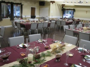 Tables set to receive guests