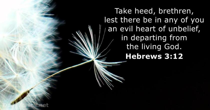 Hebrews 3:12 Take heed, brethren, lest there be in any of you an evil heart of unbelief, in departing from the living God.