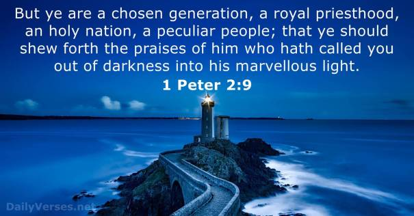 I Peter 2:9 But ye are a chosen generation, a royal priesthood, an holy nation, a peculiar people; that ye should shew forth the praises of him who hath called you out of darkness into his marvellous light: