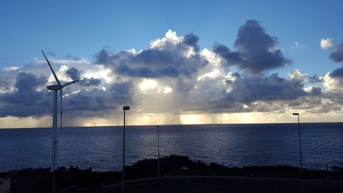 Rain over the Atlantic Ocean in La Palma, Canarian Islands
