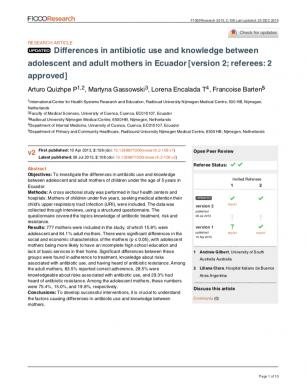 Diferencias en el conocimiento sobre uso de antibióticos entre madres adolescentes y madres adultas en el Ecuador (Inglés)