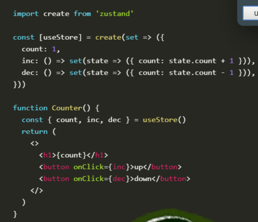 Barebones State Management Solution For React - zustand