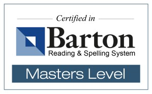 "Says ""Certified in Barton Reading & Spelling System, Masters Level."""