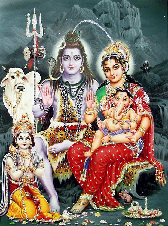 lord ganesha with shiva parvati and kartik - shortstoriescoin - image