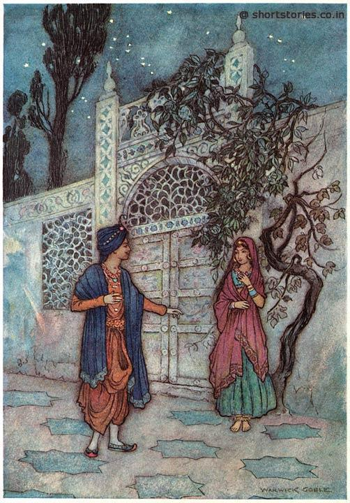 The prince revived, and, walking about, saw a human figure near the gate