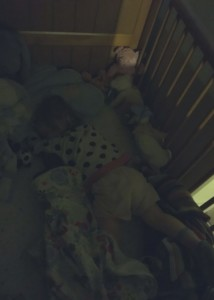 Spike sleeping in her cot after a night of bedtime stalling